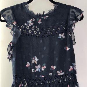 Aqua Navy Floral & Lace Dress